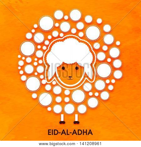 Muslim Community, Festival of Sacrifice, Eid-Al-Adha Celebration with creative illustration of a Sheep on orange background, Vector Card design.