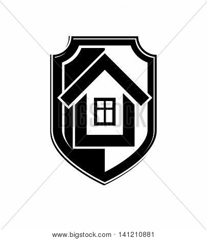 House conceptual icon protection shield with vector simple house.