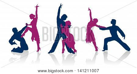 Ballroom dancers detailed vector silhouettes. Dancing couples.