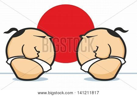 Two Sumo Wrestlers face off against a red circle in stylized vector cartoon graphic