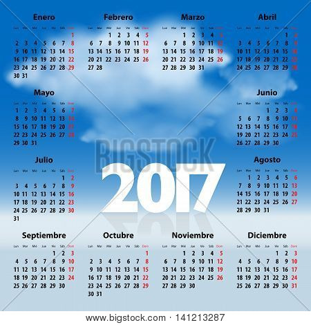 Calendar for 2017 year in Spanish with clouds in the blue sky. Mondays first. Vector illustration