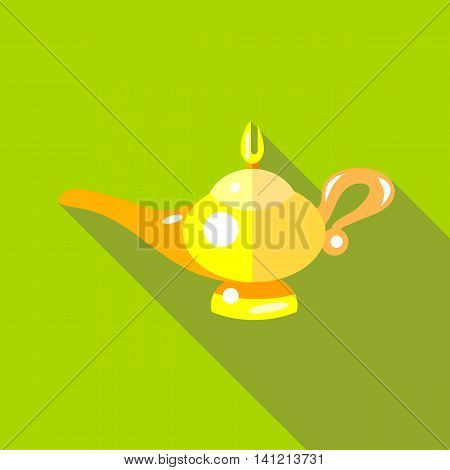 Middle east oil lamp icon in flat style on a green background