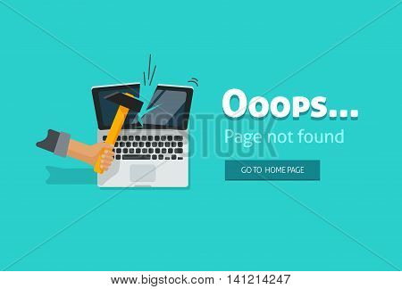 404 error page illustration on blue background, page not found design image
