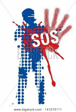 Male silhouette victim of violence. Young man grunge stylized silhouette covering strike with sign SOS. Vector available.