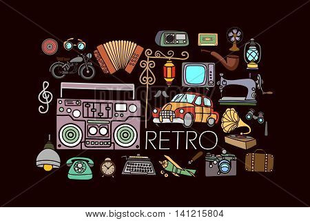 vector illustration of flat line art design of retro  and vintage concept for web design template