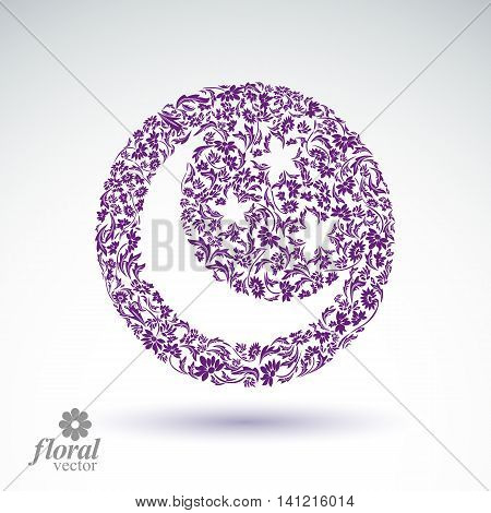 New Moon placed on a starry sky beautiful vector art illustration flowery lullaby stylized icon sleep time idea.