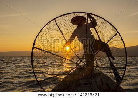 Intha fisherman or King of Inle Lake, Myanmar.