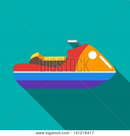 Water jetski or hydrocycle icon in flat style on a turquoise background