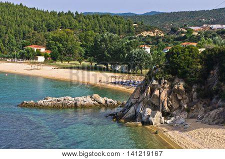 Beachscape of Destenika beach in Sithonia, Greece