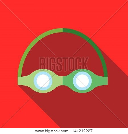 Swimming goggles icon in flat style on a red background
