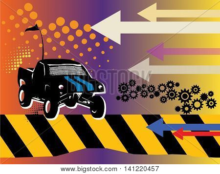 Off-road race abstract color background, vector illustration