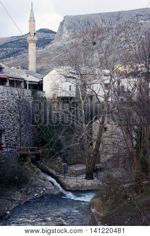 View of the bank of the river Radobolya in Mostar, Bosnia and Herzegovina