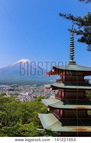 Mt. Fuji With Chureito Pagoda In Summer