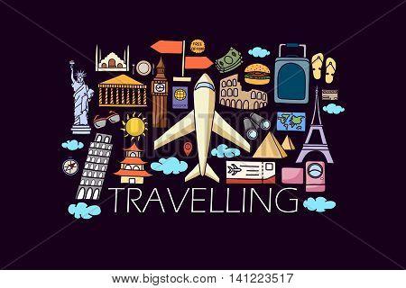 vector illustration of flat line art design of Travel  concept for web design template