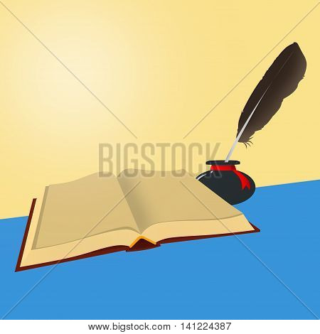 Book - The old open book with empty sheets and inkwells with a feather on a blue and yellow background.
