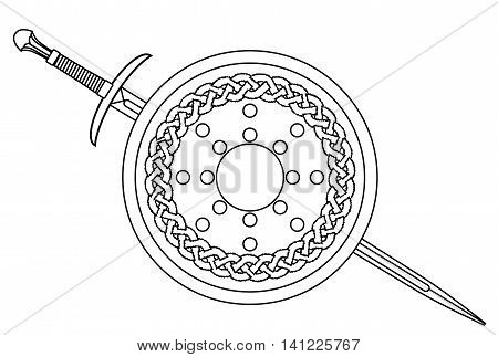 A Scotish shield and claymore sword isolated on white.