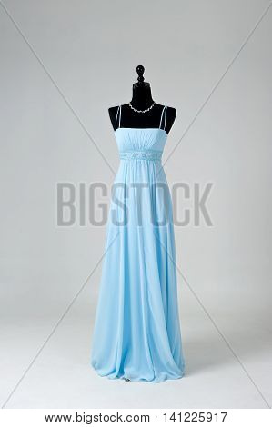 Modern Blue Wedding Dress Isolated On Grey Background