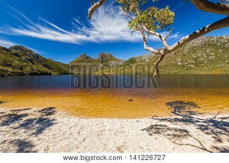 Lake Dove Beach in Cradle Mountain and Lake St Clair National Park. Dove Lake is an ancient glacial lake near Cradle Mountain in Tasmania, Australia.