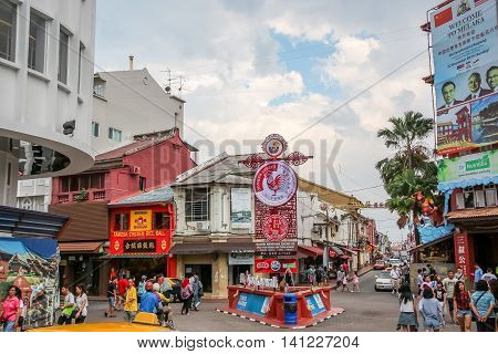 MALACCA MALAYSIA - JULY 16 2016: Jonker Street is the centre street of Chinatown in Malacca. It was listed as a UNESCO World Heritage Site on 7 July 2008.
