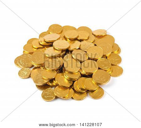 heap of chocolate money coins isolated on white
