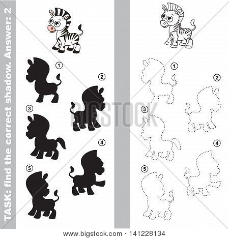 Black and white zebra with different shadows to find the correct one. Compare and connect object with it true shadow. Easy educational kid gaming. Simple level of difficulty. Visual game for children. poster