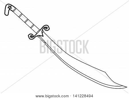 A scimitar sword as used by arabian warriors isolated on white, Vector