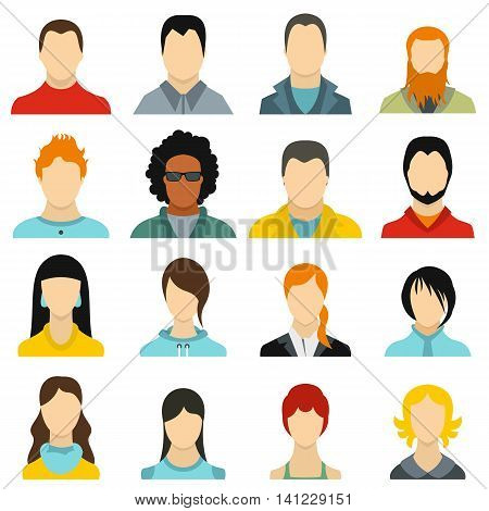 Flat avatars icons set. Universal avatars icons to use for web and mobile UI, set of basic avatars elements isolated vector illustration