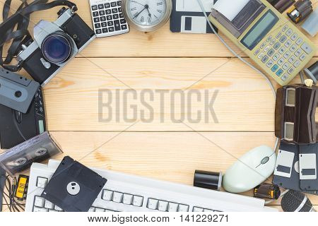Background With Old Electronics Placed In A Circle