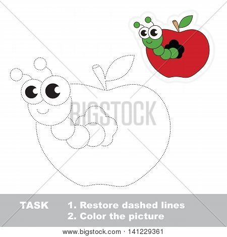 Worm and apple. Gaming in vector to be traced. Easy educational kid game. Simple level of difficulty. Restore dashed line and color the picture. Trace game for children. Vector
