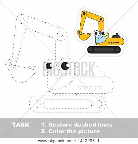 Funny excavator in vector to be traced. Easy educational kid game. Simple level of difficulty. Restore dashed line and color the picture. Trace game for children. Vector