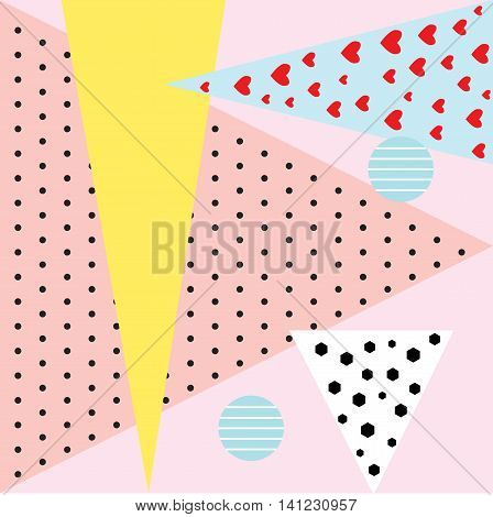 Designed in the style of Memphis fashion geometric elements cards Memphis. Retro style texture pattern and geometric elements. Modern abstract poster design cover art card design.