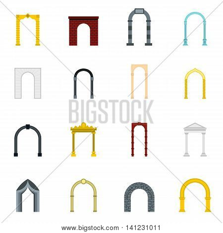 Flat arch icons set. Universal arch icons to use for web and mobile UI, set of basic arch elements isolated vector illustration