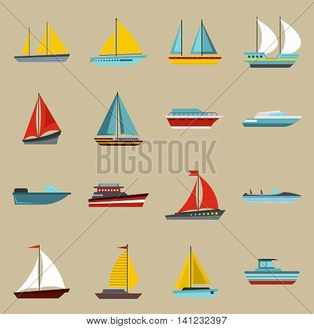 Flat ship icons set. Universal ship icons to use for web and mobile UI, set of basic ship elements isolated vector illustration