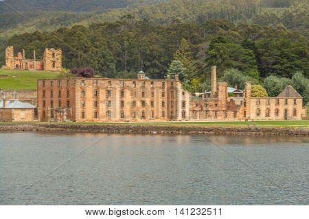 The Penitentiary in Port Arthur Historic Site, Which until 1877 was a penal colony for prisoners. The site is located on Tasman Peninsula, Tasmania, Australia. View from boat.
