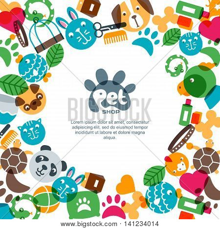 Pet Shop, Zoo Or Veterinary Square Banner, Poster Or Flyer Design Template.