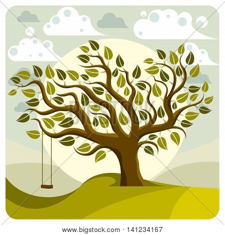 Vector branchy tree with swing on beautiful cloudy spring landscape.
