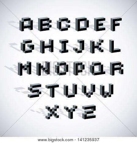 Vector modern tech alphabet letters set. Geometric pixilated digital font 3d dotted 8 bit characters.