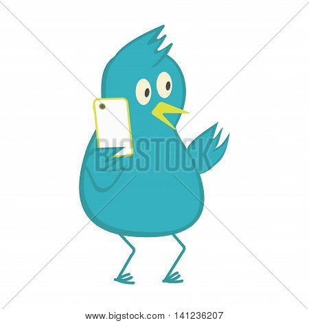 Bird speaks on a cell phone. Vector illustration.