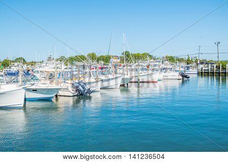 MONTAUK, LONG ISLAND, US, JUNE 18, 2016: Montauk Lake and marina