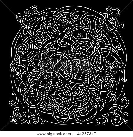 Brainteaser loop vector white labyrinth on black background