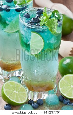 Detox refreshing summer drink juice with lime mint blueberry and ice