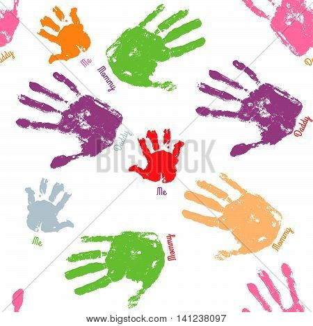 Family handprint seamless pattern. Colorful background with child woman and man handprints. Vector illustration.