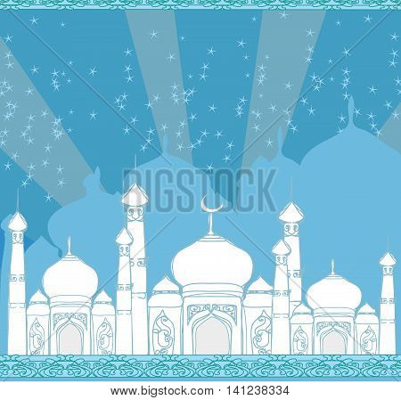 Ramadan background - mosque card , vector illustration