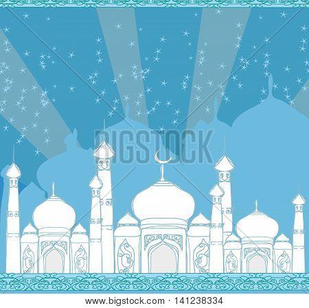 Ramadan background - mosque card , vector illustration