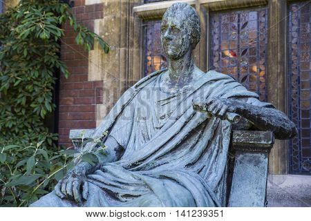 A statue of William Pitt The Younger outside Pembroke College in Cambridge UK.