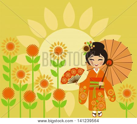 Beautiful Japan girl at the festival of sunflowers (Himawari Matsuri)