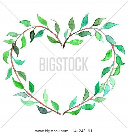 Watercolor heart shaped plant branch wreath isolated