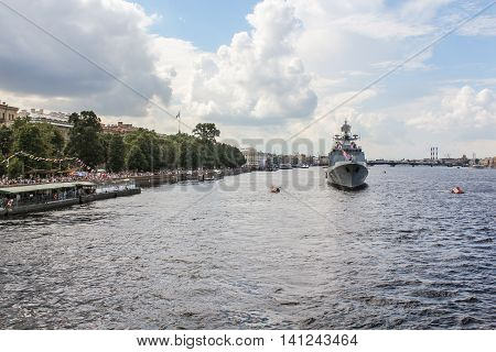 St. Petersburg, Russia - 31 July, Festive parade of warships in St. Petersburg, 31 July, 2016. Festive parade of warships on the Neva River in St. Petersburg.