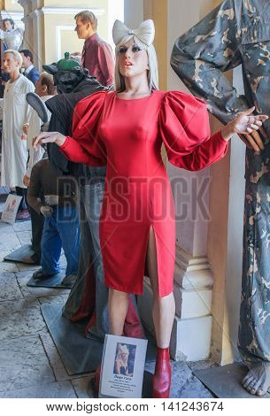 St. Petersburg, Russia - 9 April, The figure of Lady Gaga, 9 April, 2016. Wax Museum Gallery large Gostiny Dvor.