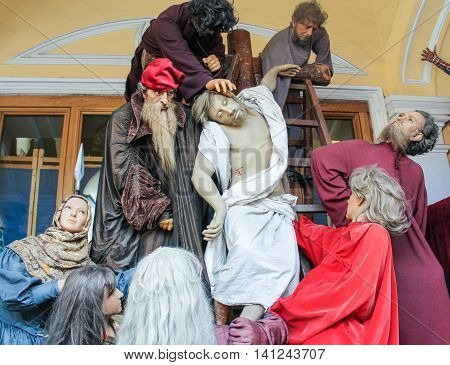 St. Petersburg, Russia - 9 April, The composition of the crucifixion of Christ, 9 April, 2016. Wax Museum Gallery large Gostiny Dvor.